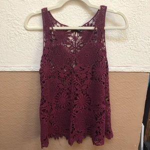 Forever 21 Burgundy Crochet Tank (Small)